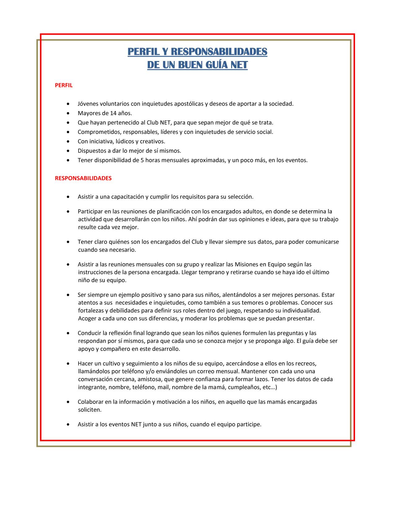 Perfil y responsabilidades del guía NET copiar