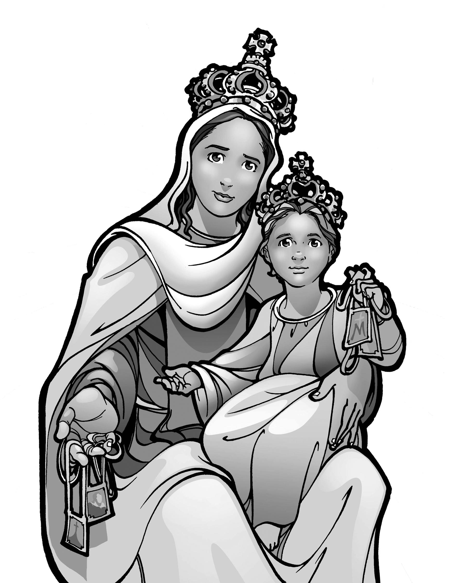virgen del rosario con niño