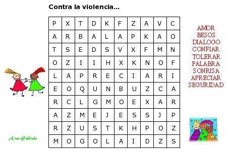 Sopa letras Contra la violencia